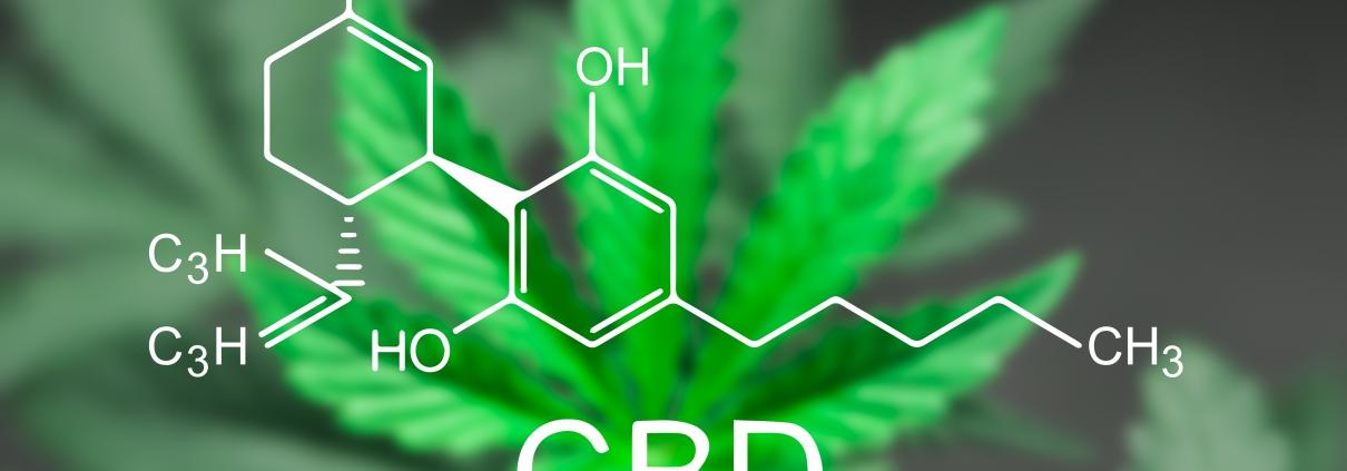Cannabis leaf with CBD formula