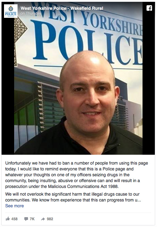 Inspector Martin Moizers threatens to arrest anyone who is critical of the police on their Facebook page.