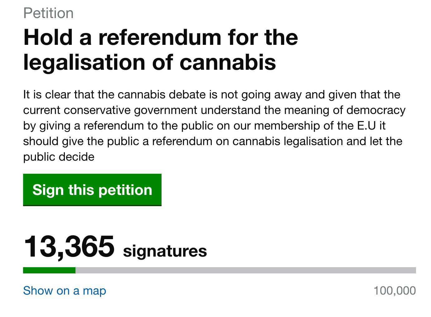 Cannabis UK referendum petition
