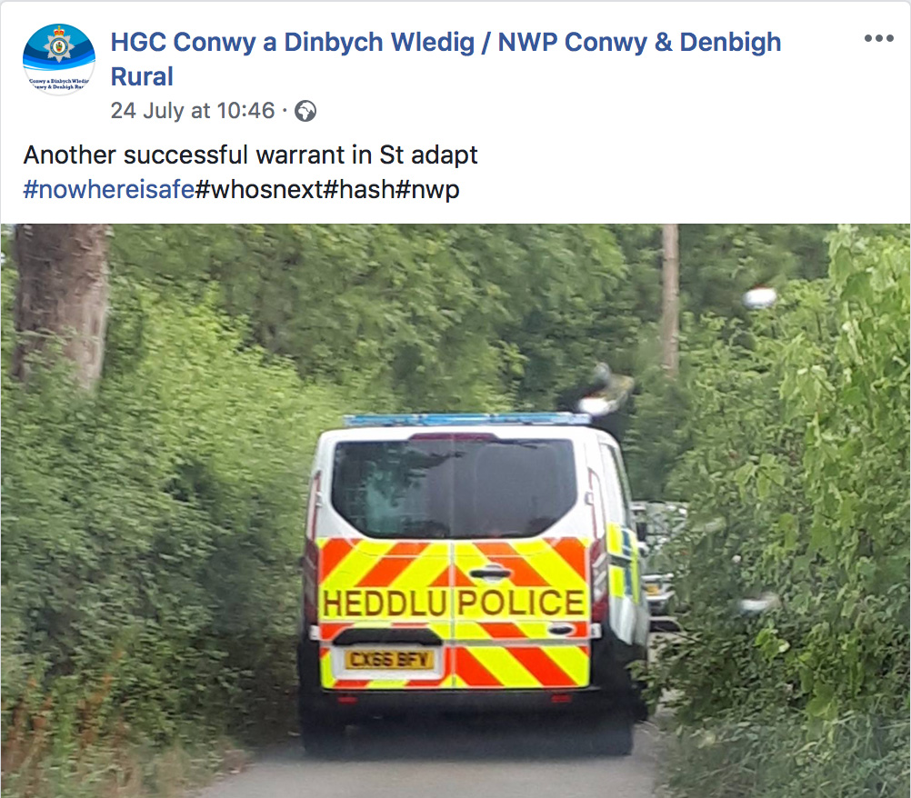 Welsh police van in cannabis raid