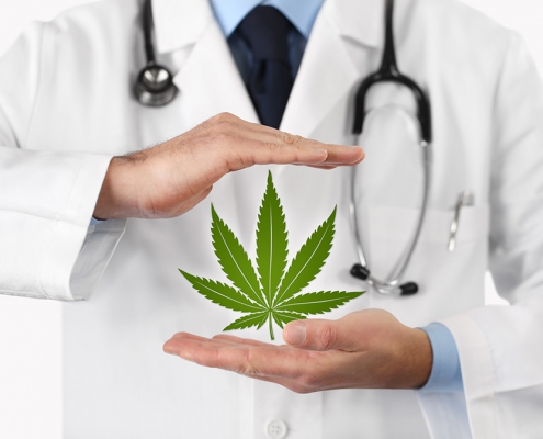 Photo of a doctor with cannabis.