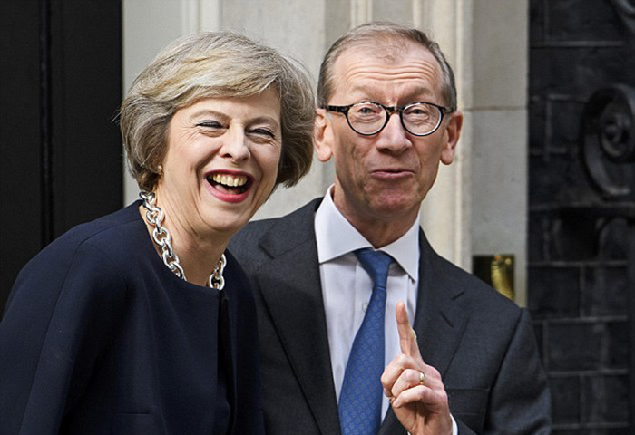 Theresa and Philip May outside 10 Downing Street