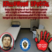 Fred West prison cell holiday advert.
