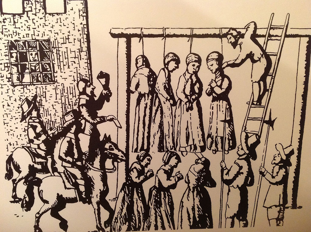 Drawing of the Pendle witches being hanged