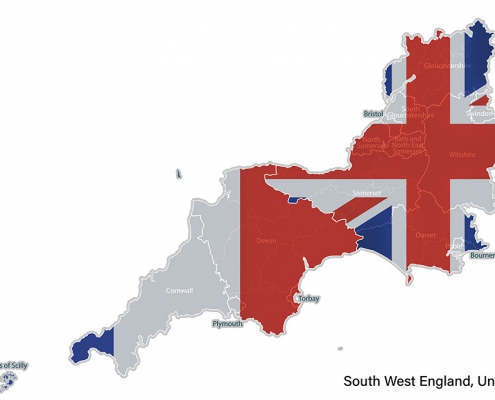 Map Devon Cornwall and France with Union Jack and French flags imposed.