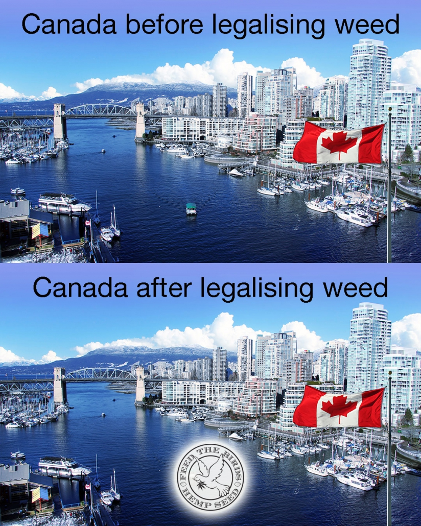 "Photo of Vancouver with caption ""Canada before legalising weed - Canada After Legalising Weed""."