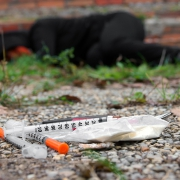 Used injection needles of heroin addicts.