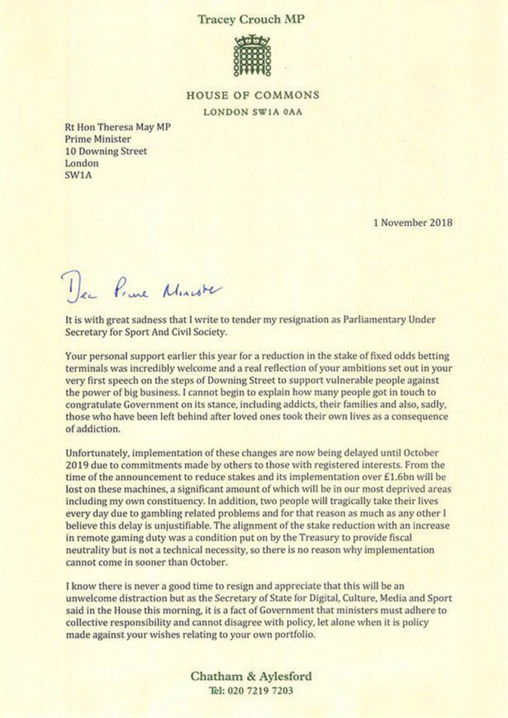 Tracey Crouch resignation letter