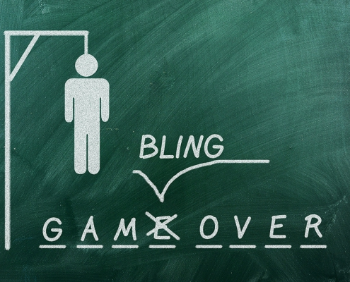 Image of a hangman game with gamBLING over.