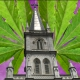 Church with cannabis leaf.
