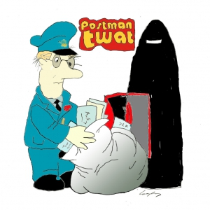 Cartoon of Postman Boris Johnson trying to post a letter into a Burka.