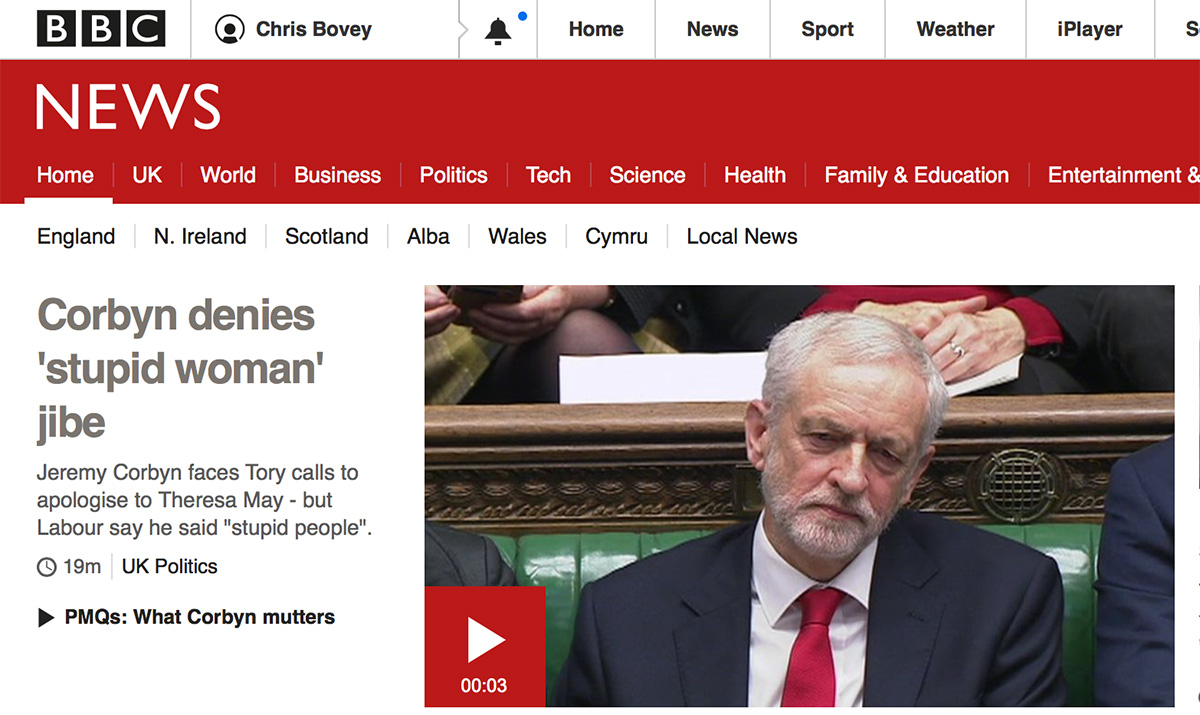 BBC news front page: Conbyn denies stupid woman jibe