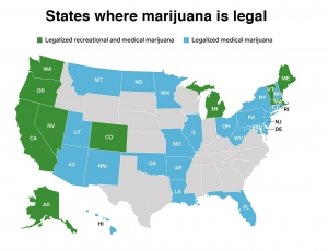 Map of States where weed is legal medicinally or recreationally in the USA.
