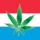 Luxembourg flag with cannabis leaf on it.