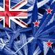 Flag of New Zealand with cannabis leaves.