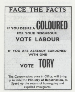Racist Conservative Party election poster from the 1960s.
