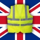 Yellow Jacket protest on front of a Union Jack flag.