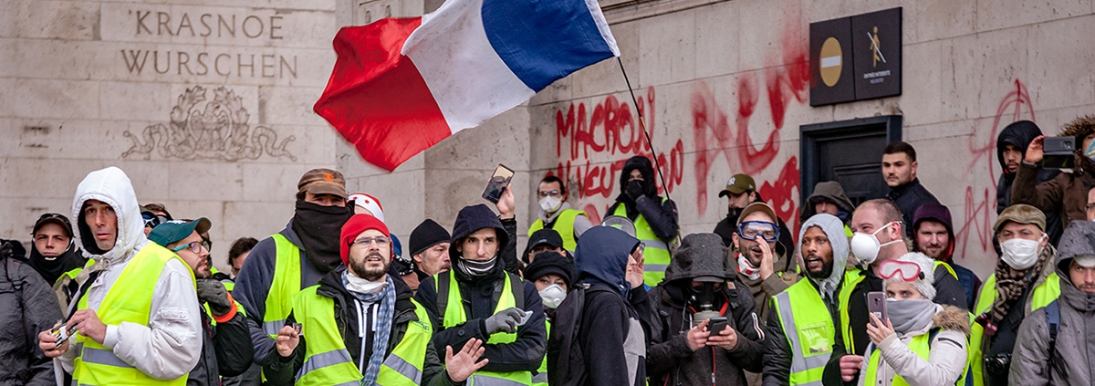 Yellow Vest protestors in Paris, France.
