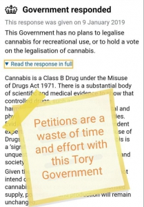 Petition on the official government petitions website asking for a referendum on the legalisation of cannabis.
