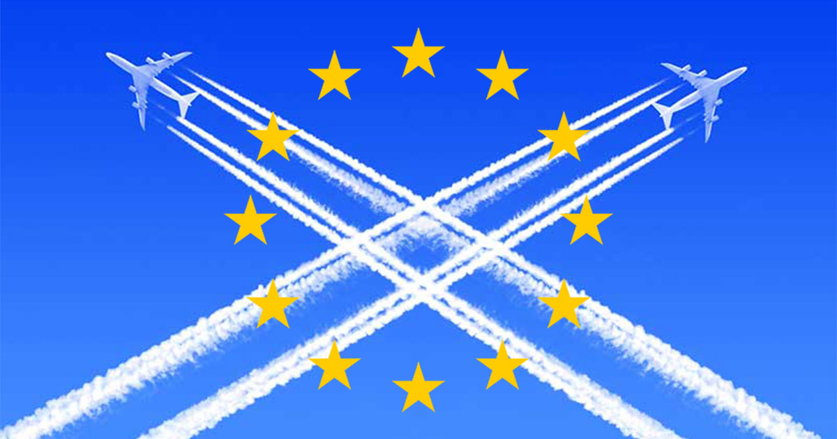 EU flag with chemtrails.