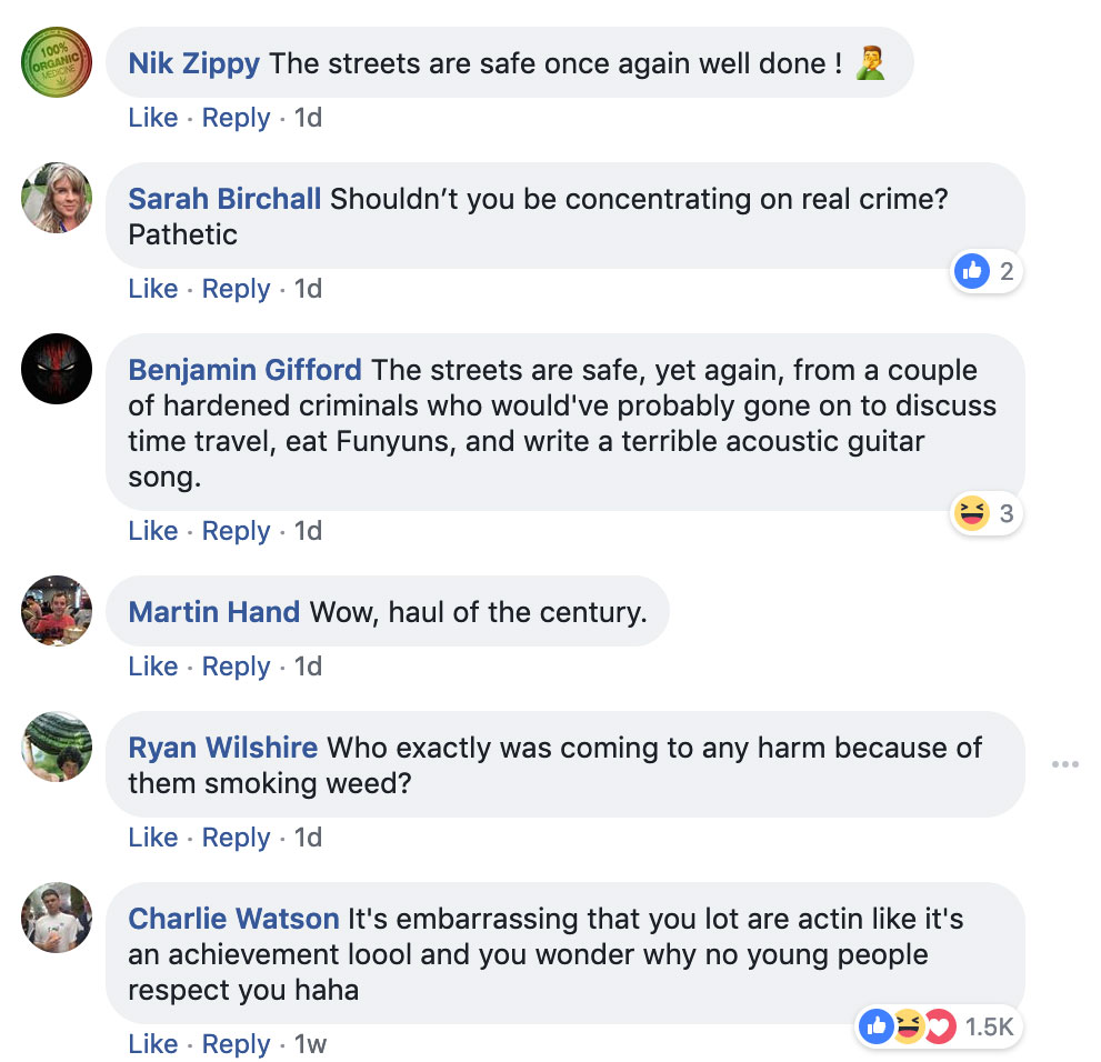 UK police boasts on Facebook about minor weed busts backfire
