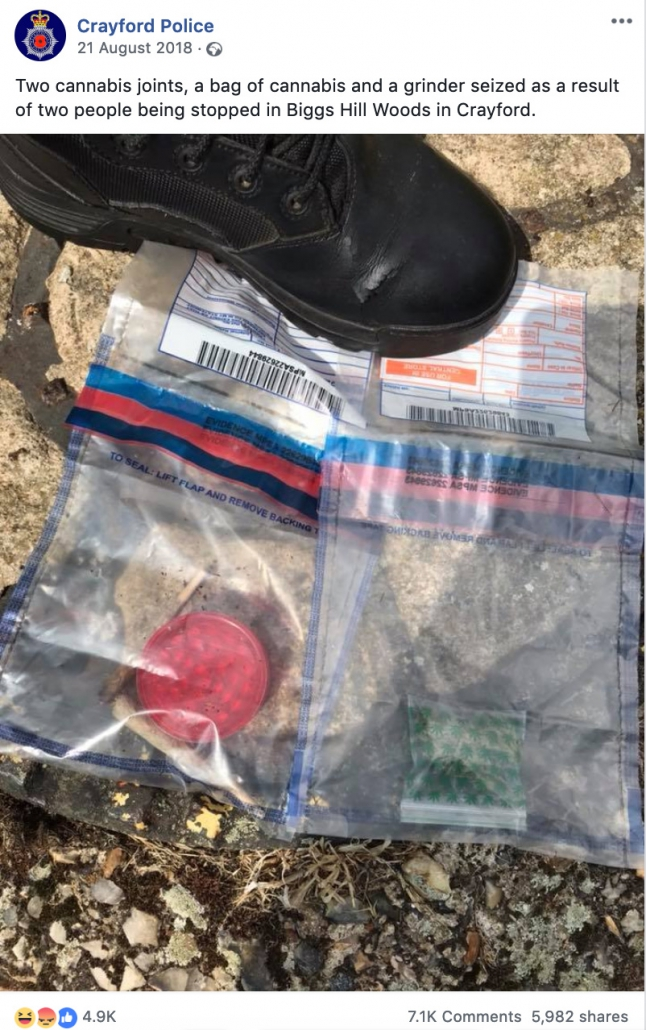Screenshot of post by Crayford police boasting about seizing 2 cannabis joints, a small bag of weed and and grinder.