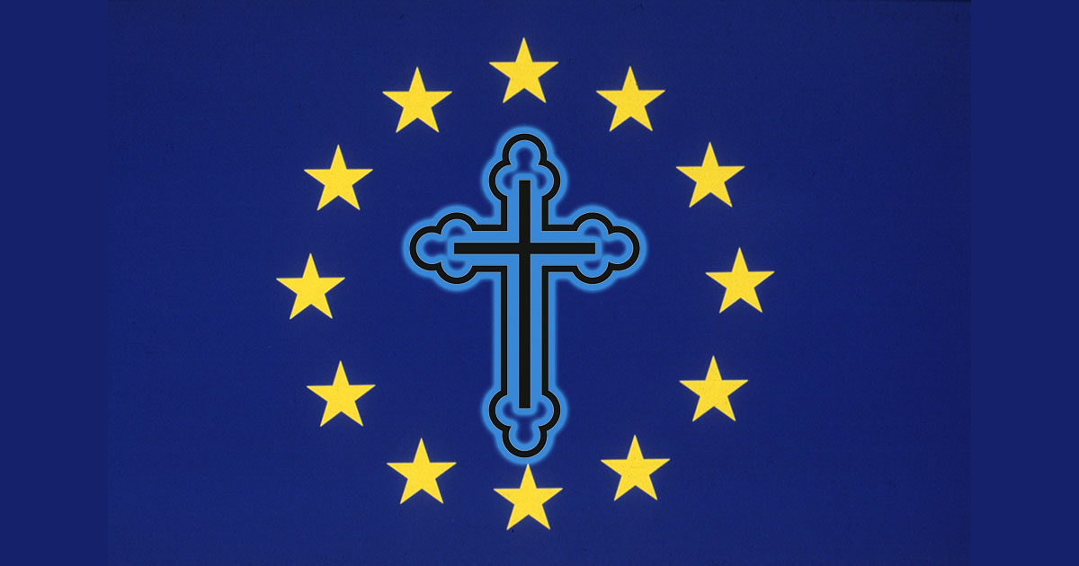 EU Flag with crucifix.