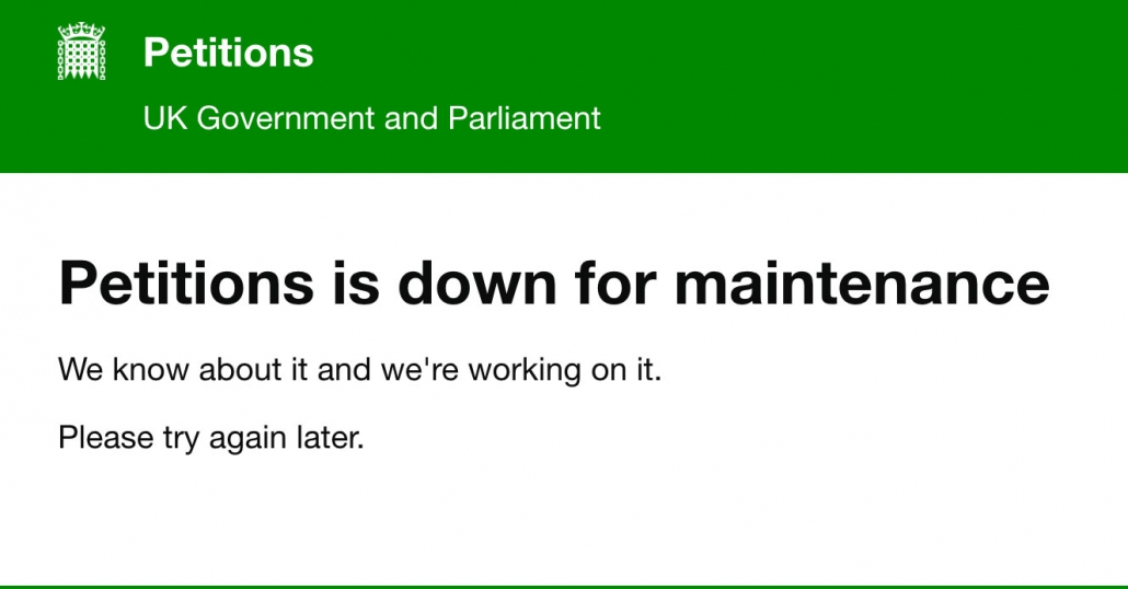 Petitions is down for maintenance.