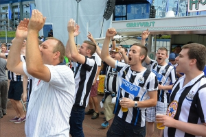 Newcastle football hooligans in Germany.
