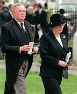 The late Margaret Thatcher with child rapist, Sir Peter Morrison