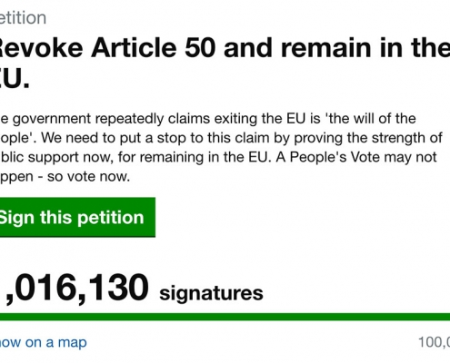 Screenshot of Downing Street petition to revoke Article 50 shortly after it passes one million signatories.