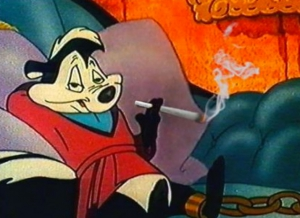Cartoon of Pepe le Pew smoking a joint.