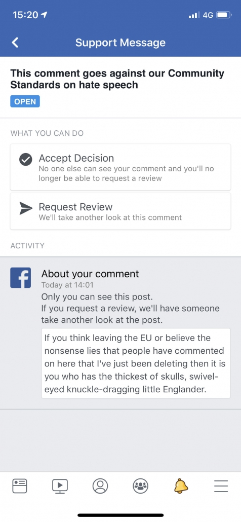 Sceenshot of Chris Bovey's latest 30-day Facebook ban