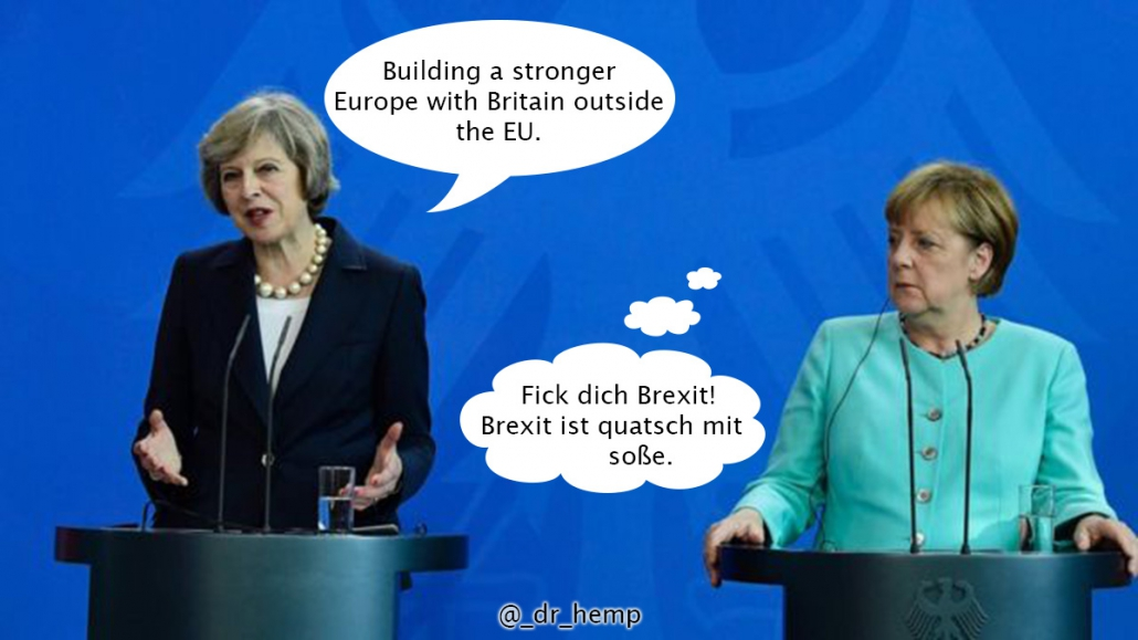 Theresa May and Angela Merkel funny Brexit meme.