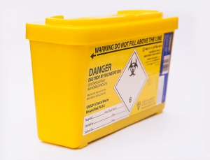 Photo of a sharp box for a Safe Injecting Room (SIR)