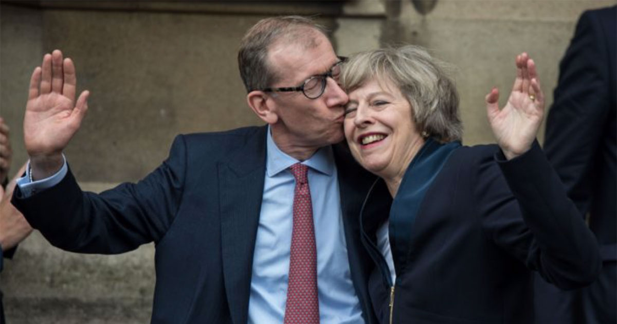 Philip May with his wife, Theresa May Prime Minister of the UK.