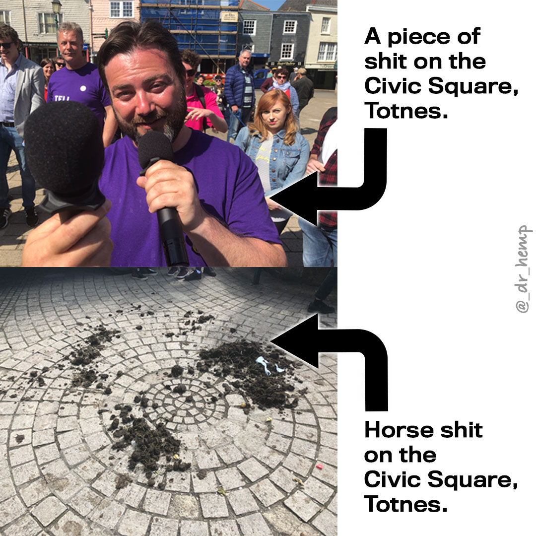A piece of shit on the Civic Square Totnes.