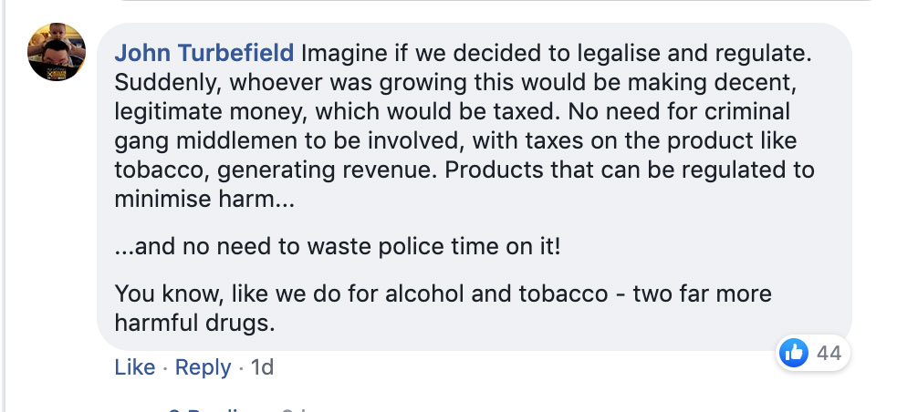 Facebook comment by John Turnfield on Chichester Police's Facebook page.