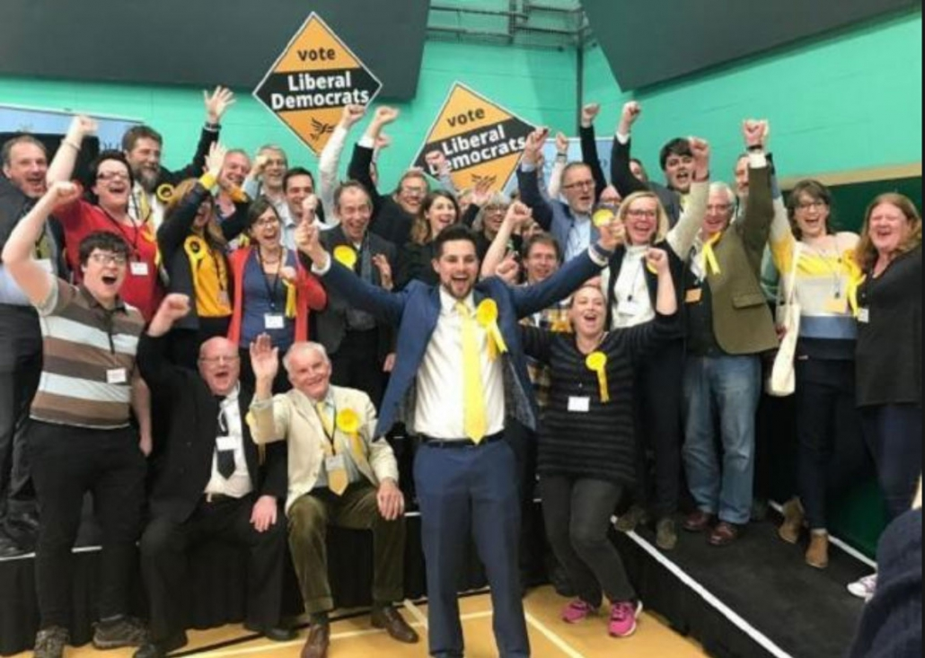 Lib Dems celebrate taking control of Cotswold District Council.