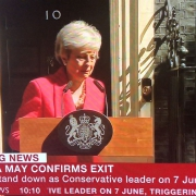 The moment Theresa May outside Downing Street announces in tears she is to resign.