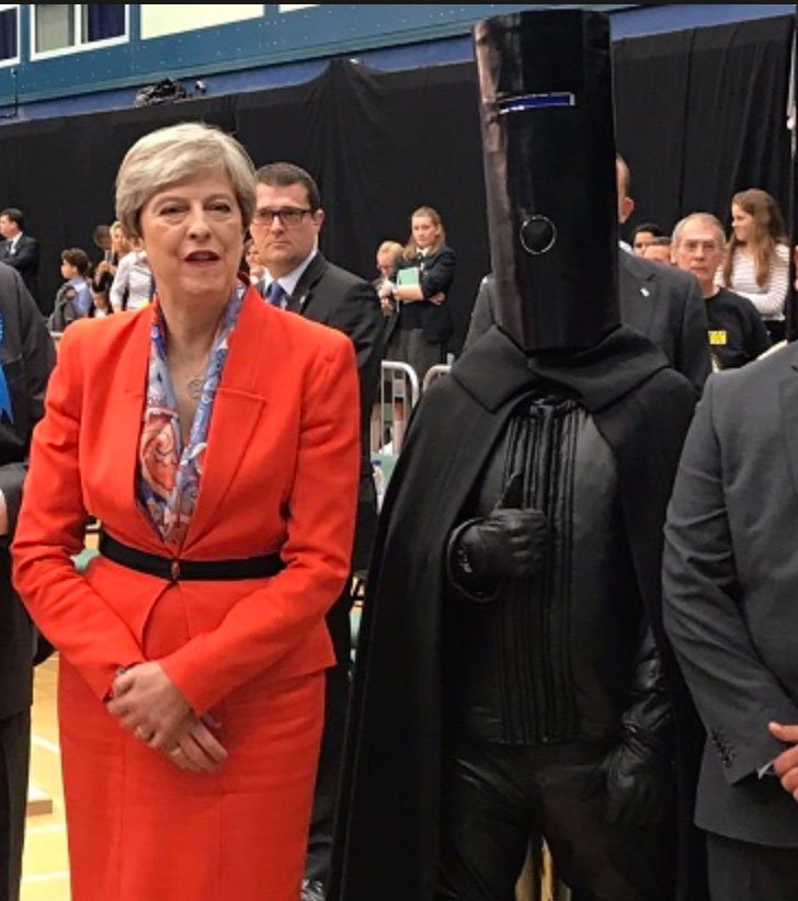 Theresa May and Lord Buckethead at her constituency count in Maidenhead, 2017.