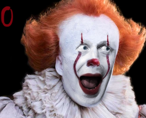 Boris Johnson MP dressed as the scary clown from the horror film, It.