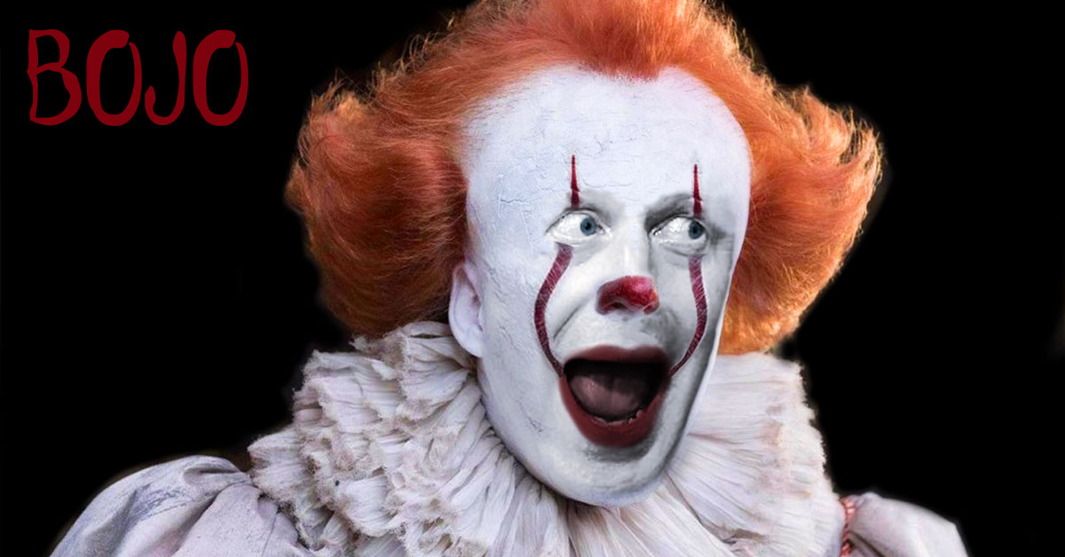 Boris Johnson MP dressed as the scary clown from the film, It.