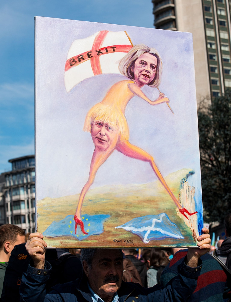 Placard from London anti Brexit march 2019 with Borish Johnson superimposed onto Theresa May's bottom.