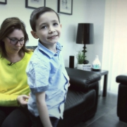 Lisa Quarrell with her son who has a