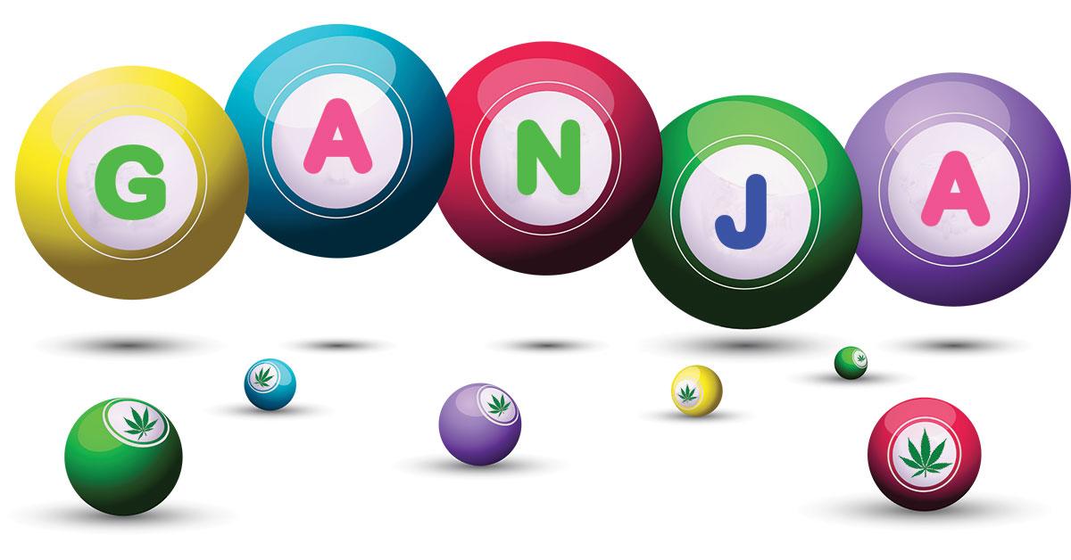 Bingo balls with the word 'GANJA'.