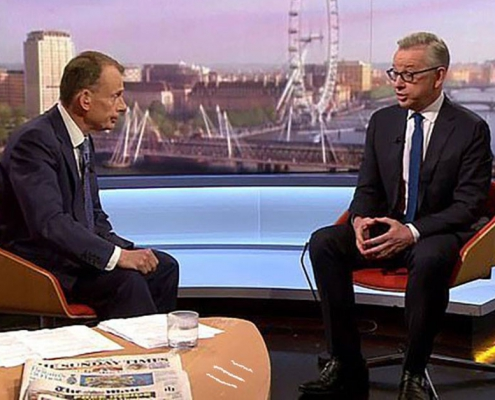 Michael Gove talks with Andrew Marr with three white lines of cocaine on the table.