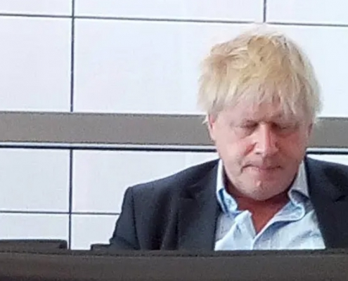 Photo of Boris Johnson looking very hungover after attending a party at hosted by billionaire socialite, Evgeny Lebedev.