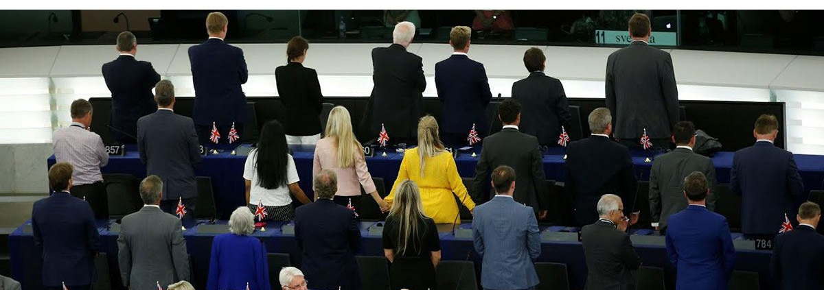 Photo of Brexit Party turning their back at the European Anthem, Beethoven's Ode to Joy with caption 'Brexit Party proves they really are just arses'.