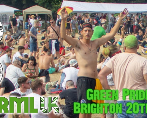 Green Pride Brighton cannabis protest with Brighton Cannabis Club, Feed The Birds and NORML UK.